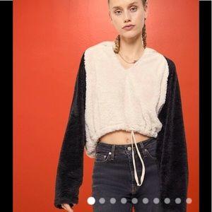 Urban Outfitters Faux Fur Fleece Crop Hoodie Top Color Block soft cozy UO Medium